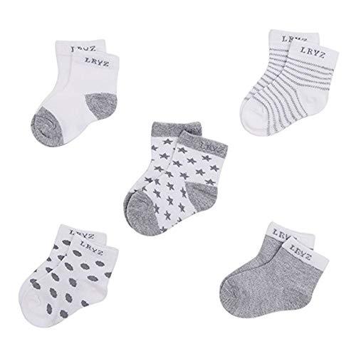 5Pairs Neugeborenes Baby Bio-Baumwolle Socken Soft Breathable Knöchel-Fußboden-Socken für 0-12months Säuglingskleinkind Kleinkinder Spielzeug -