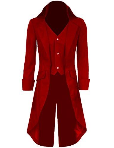 Yeweiwenhua Herren Steampunk Vintage Frack Jacke Gothic viktorianischen Frock Mantel Uniform Kostüm (Hellrot, (Kostüm Rote Mantel Lange)