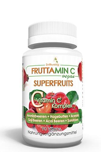 Fruttamin C - 6 Superfoods-Superfruits bieten reines natürliches Vitamin C aus - Aroniabeeren, Hagebutte , Acerola, Goji Beeren, Acai Beeren, Sanddorn, optimal Bioverfügbar, Vegan • Rein • Pur • 3 Monatsvorrat • Natürlich ohne Magnesiumstearat •