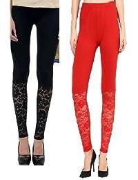 Designer Leggings:Combo Pack Of Two(Black,red) Colour Half Net Lace Ankle Length Legging,Leggings For Women In...