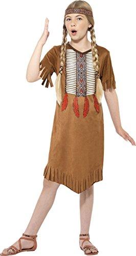 Smiffy's 45479S - Kinder Mädchen Indianer Kostüm, Kleid und Haarband, Alter: 4-6 Jahre, braun (Indianer Kostüm Ideen Für Mädchen)