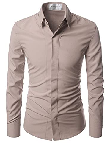 Nearkin (NKNKS650) Mens Stretchy Hidden Button Wrinkle Free Dress Shirts BEIGE UK L(Tag size L)