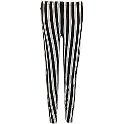 Leggings para mujer, de Purple Hanger, cintura elástica, estampado de rayas verticales Negro negro 44/46