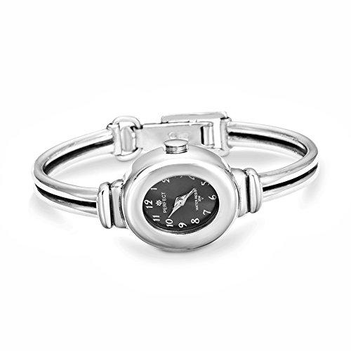 925 Sterling Silber Damen Armband Uhr,Oval,Armbanduhr Schwarz,Handarbeit #1933