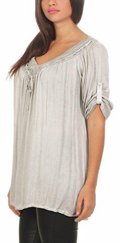 ZARMEXX Damen Bluse mit Pailletten Tunika 2995 Einheitsgröße Hellgrau