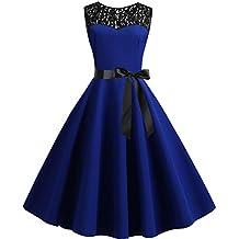 Leey Vestito 1950 retrò Lungo Donna Elegante Abito Cerimonia Matrimonio  Sexy Pizzo Swing Senza Maniche Annata 17d7965e07b