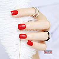 FARMERLY 2017 24pcs short paragraph new cute candy color hot buy fake fingernails complete red SN136: 1pcs