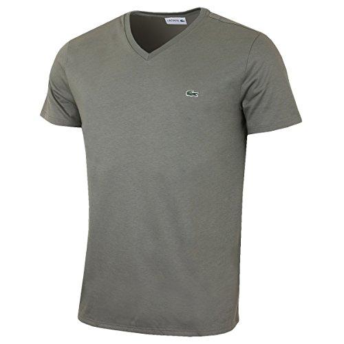 Lacoste Herren T-Shirt grün Grün (Military Green) Small (Pima V-neck Tee)