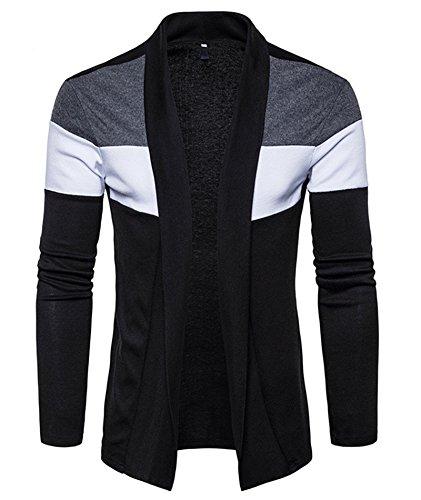 Idol Herren Strick Schal Kragen Kabel Drapierte Open Front Long Cardigan Sweater (Cardigan Kragen Schal Open)