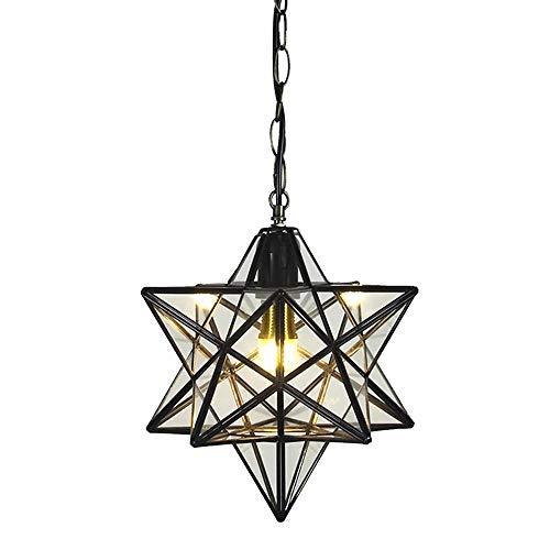 MM Negro Estrellas Cristal Focos para el techo Iluminación Interior Loft Colgante...