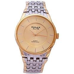 Rose Gold & Silver Plated OMAX Brand Men's Modern Fashion Analogue Japanese Quartz Metal Watch