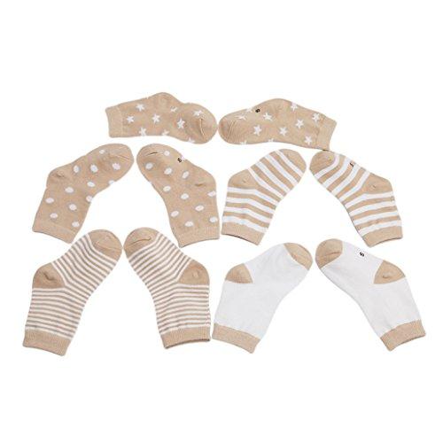 Chinget 5 Paar Baumwolle Socken Babysöckchen Kindersocken für 0-36 Monate Säugling Baby Jungen und Mädchen (Khaki Serie)