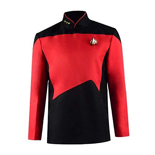 Nächste Generation Next Generation Enterprise Kapitän Jean-Luc Picard Kostüm Rot Schwarz Uniformhemd (M, Style - Nächste Generation Kostüm