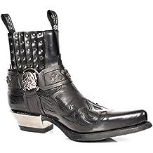 New Rock Botas Chelsea de Cuero Ponerse Biker Diseño Retro Zapatos de Tobillo Negro
