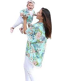 f2f541a602063 Pitashe Noel Famille Cardigan Père Noël Maman et Bébé Fille Fleur Châle  Grand Kimono Cardigan Tops Tenues de Famille Vêtements Manches…