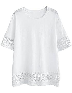 Mujer Tallas Grandes Camiseta Encaje Costura De Manga Corta Casual Suelto Blusas