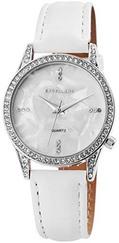 Damenuhr Weiß Silber Strass Perlmutt Analog Leder Armbanduhr