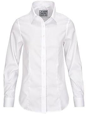 [Patrocinado]L. Bo Apparel Neat: Blanca y Azul Blusa de Mujer Elegante, Manga Larga Camisa, 100% Algodón, Ligeramente Ajustada
