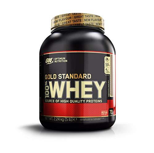 Optimum Nutrition Gold Standard Whey Eiweißpulver (mit Glutamin und Aminosäuren, Protein Shake von ON), Chocolate Hazelnut, 70 Portionen, 2.24kg