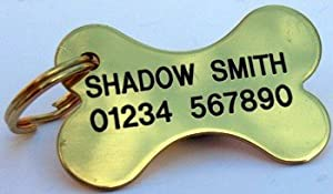 BRASS BONE Quality Engraved Dog Identity Tag When Checking Out, Please Tick The Gift Message Box To Enter Your Personalisation Details by Pet Tag Engraving