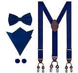 Aissy Hosenträger für Herren 3.5cm Y-Form Elastisch und Längenverstellbar Hosenträger Breit mit 6 starken Clips und Fliege & Einsteckuch GKönigsblau