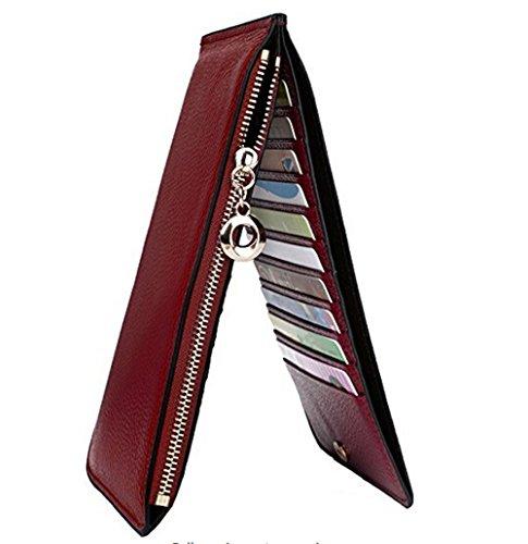VANCOO,Frauen-echtes Leder-Multi-Card-Organisator-Mappen mit Reißverschluss-Tasche, Litchi Linien (hochwertige Paket) (Geldbörsen Billige)