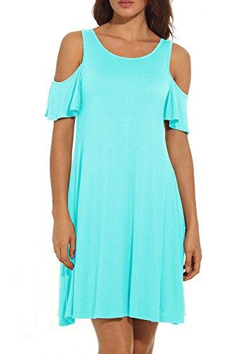 HAOMEILI Damen Langarm Kalte Schulter Swing Kleid Tank Top Loose Casual T-shirt Kleid mit Pocket (XXL(EU 46-48), Nilblau)