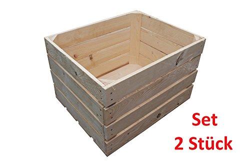 2 Stück NEUE natur Holzkisten Obstkisten Apfelkisten Weinkiste TOP - 2er Set