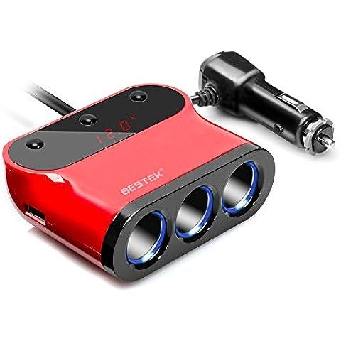 BESTEK 12V Ladrón de Mechero de Coche con 3 Encendedores y 2 Puertos USB con 3 Interruptores Independientes y Pantalla LED