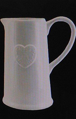 Gisela Graham Vintage Stil Groß antik französische weiß Keramik Herz Krug