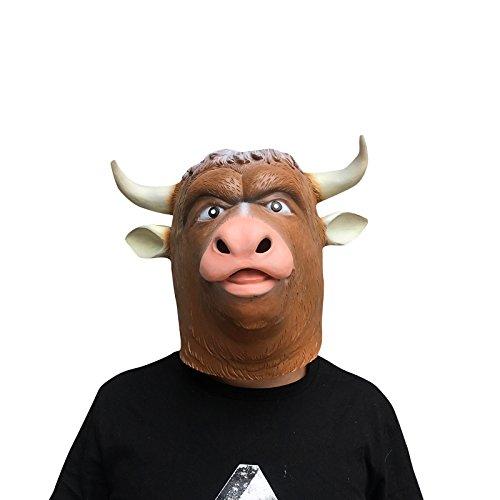 thematys Bull Ox Cattle Bulle Ochse Bull Stier Maske - perfekt für Fasching, Karneval & Halloween - Kostüm für Erwachsene - Latex, Unisex ()