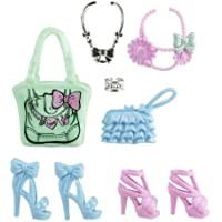 Mattel – x7867- Barbie Doll – Blue, Pink and Blue Shoes Bag and Accessories Green