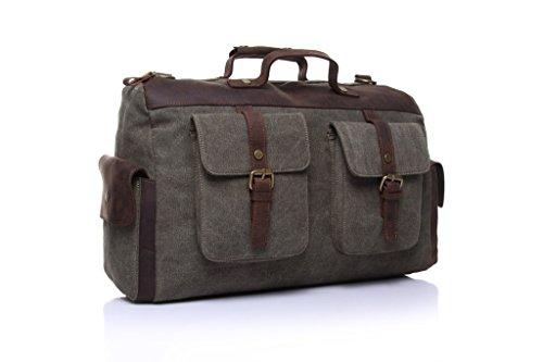 Yvonnelee Unisex Tasche Handtasche Henkeltasche Schultertasche Umhängetasche für Damen Herren Frauen und Männer aus Canvas Schulterriemen Grün
