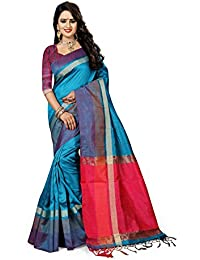 J B Fashion Women's Silk Blue Saree With Blouse Piece