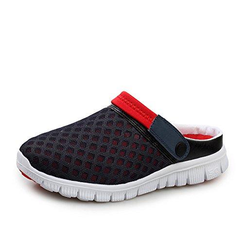 Ome&qiumei crocs estate uomini pantofole crocs scarpe traspiranti gli amanti della spiaggia nera e rossa 38