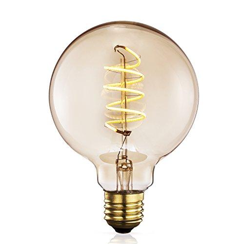 TRANSTEC® G80 Globe FLEXIBLE Filament Ampoule – 4 Watt Verre Ambré Vintage Edison Maison-Deco Rétro Ampoule Blanc Chaud – Large Dimmable – Noël Valentin Fête Ampoule – E27 Culot 2200K