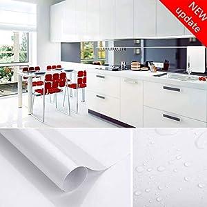 Johgee 300 * 41 CM (L*B) dick PVC weiß Klebefolie - selbstklebend DIY Dekofolie Möbel Folie Wasserabweisend Möbelfolie Renovierung Küchenschränke Tapeten, weiß mit glitzerpartikel auf Oberfläche