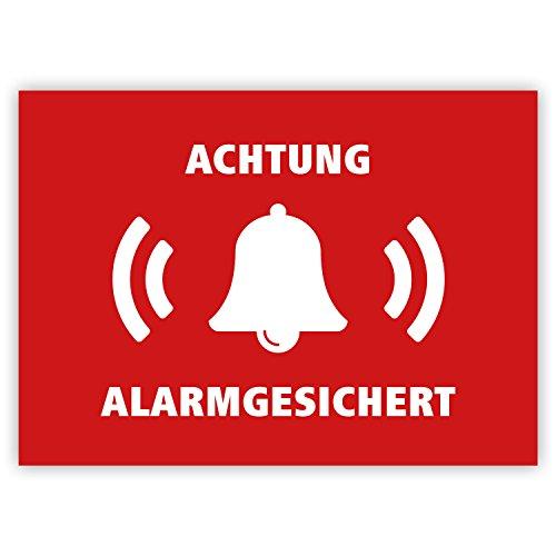 """10 Stück - Aufkleber\""""Achtung alarmgesichert\"""" (Hinweis auf Alarmanlage, z.B. KFZ, Tresore usw.), Rot/weiß, rechteckig, 74x52mm"""