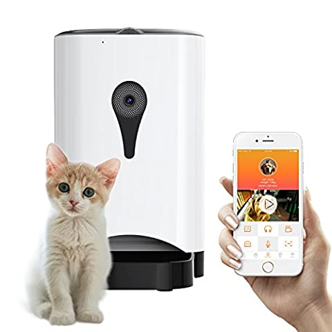 Unimall Wireless Automatic Pet Feeder 4.5 L Large Dog Cat Feeder with Timer Real Time Monitoring Storage with Camera for Share