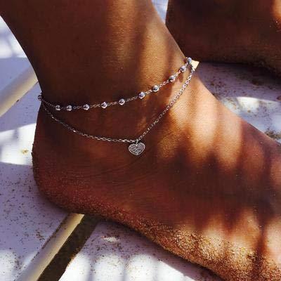 Jovono pulsera de tobilleras de plata con cuentas tobilleras de abalorios de cristal de moda pie joyería de playa para mujeres y niñas (corazón 2)