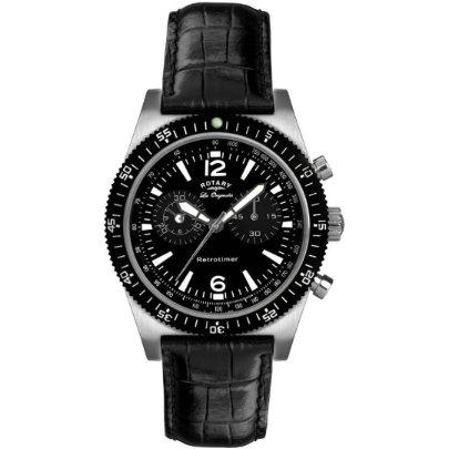 Rotary GS90031-19 - Reloj de pulsera para hombre, correa de piel, color negro