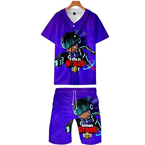 MR.YATCLS Brawl Stars T-Shirt Shorts 3D-Druck Baseball Uniform Anzug Teen Sommer Lässig Sweatshirt Geeignet Für Männer Und Frauen (Baseball-uniform, Für Kinder Hose)