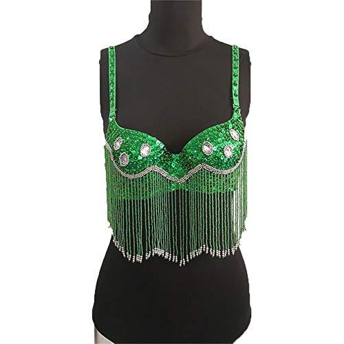 Green Gypsy Kostüm - Sijux Tribal Glitter Sparkle Bauchtanz Perlen Quaste Club Nacht Pailletten BH für Rave Cabaret Party Performance Kleidung für Frauen,Green