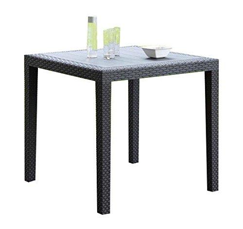 Gartentisch Rattan Optik ohne Schirmloch Tisch schwarz 79 x 79 cm Bistrotisch Beistelltisch