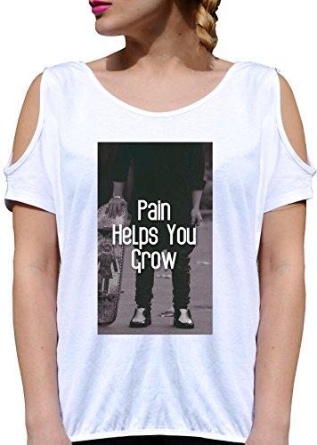 T SHIRT JODE GIRL GGG27 Z2594 PAIN HELPS YOU GROWING LIFESTYLE GROW UP FUN FASHION COOL BIANCA - WHITE