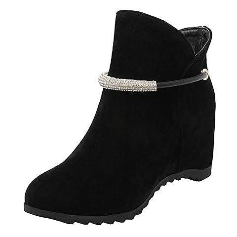 AIYOUMEI Damen Wildleder Slip-on Keilabsatz Stiefeletten mit Strass und 6cm Absatz Bequem Outdoor Stiefel