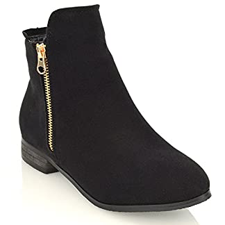 ESSEX GLAM Ladies Chelsea Low Block Heel Pixie Buckle Zip Winter Womens Ankle Boots Size 3 4 5 6 7 8 1