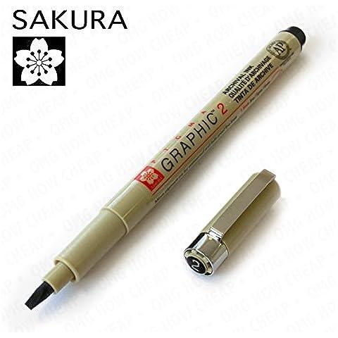 Sakura Pigma Graphic-Inchiostro per scrittura calligrafica, singolo, 2,0 mm, colore: nero