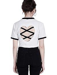 0668e00fa Grea Sexy Mujer Camisetas Love Heart Ahueca hacia Fuera la Camiseta Sin  Espalda Estilo Punk Crop Top Kawaii Harajuku Amigos Tops Camisetas…