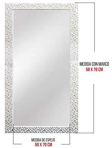 Chely Intermarket - Espejo de Pared Cuerpo Entero 50x70cm Marco Exterior 58x78cm Blanco/Raya Plateado...